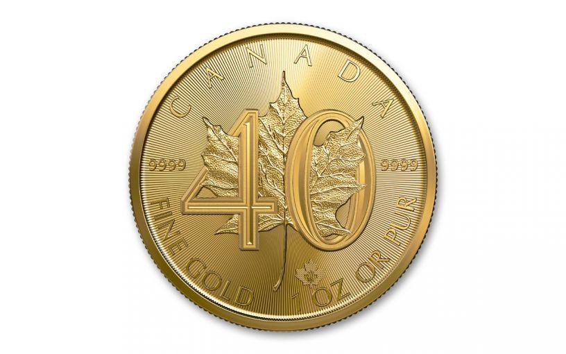 2019 Canada $50 1-oz Gold 40th Anniversary Maple Leaf BU