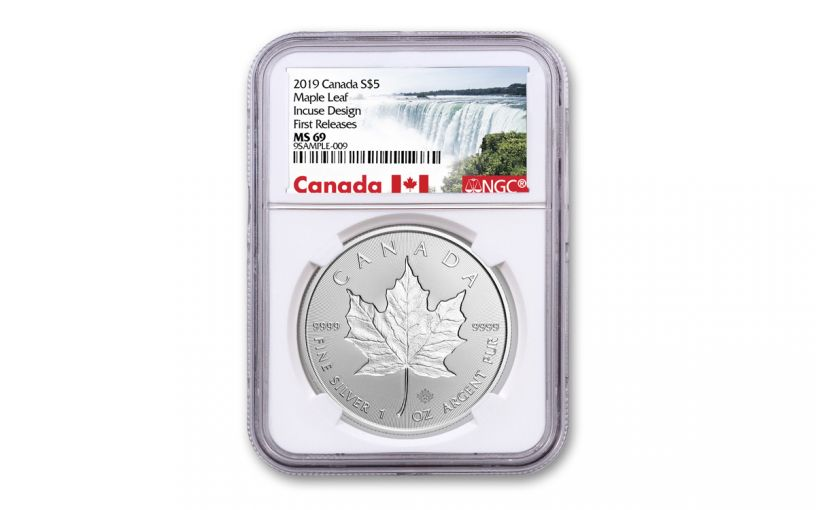 2019 Canada $5 1-oz Silver Incuse Maple Leaf NGC MS69 First Releases - Canada Label