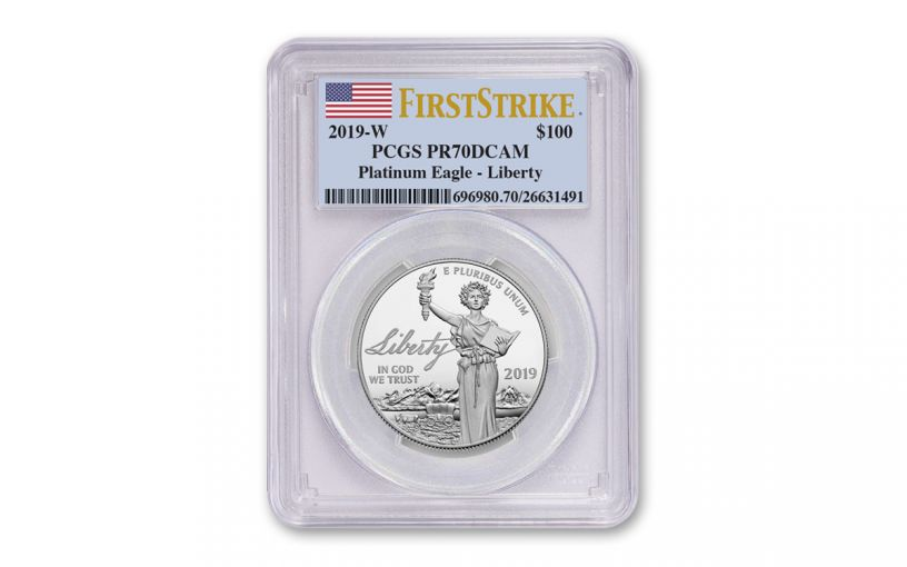 2019-W $100 1-oz Platinum American Eagle Liberty PCGS PR70DCAM First Strike - Flag Label