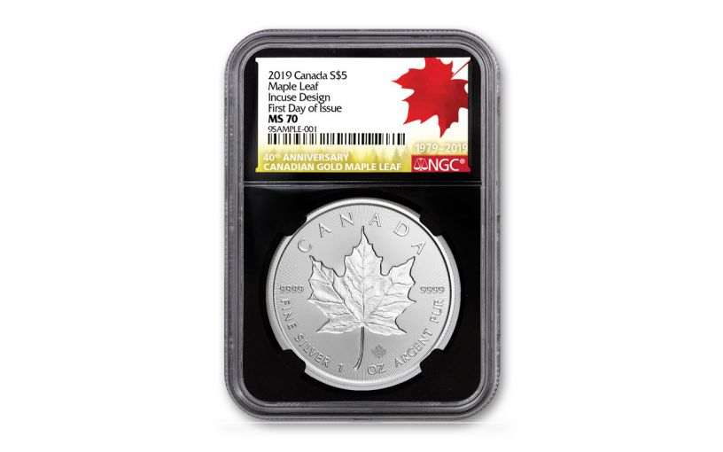 2019 Canada $5 1-oz Silver Maple Leaf Incuse NGC MS70 First Day of Issue - Black Core, 40th Anniversary Gold Maple Leaf