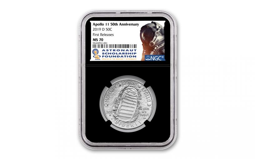 2019-D Apollo 11 50th Anniversary Clad Half Dollar NGC MS70 First Releases - Black Core, Astronaut Scholarship Foundation Label