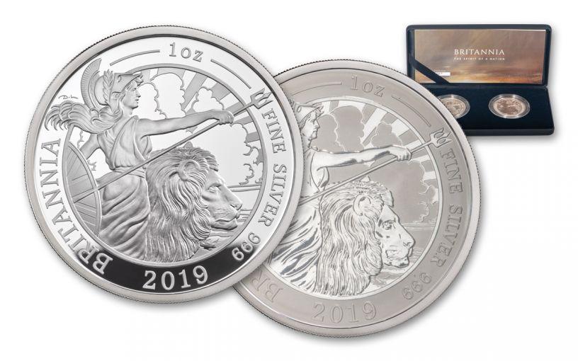 2019 Great Britain £2 1-oz Silver Britannia Proof & Reverse Proof 2-Piece Set