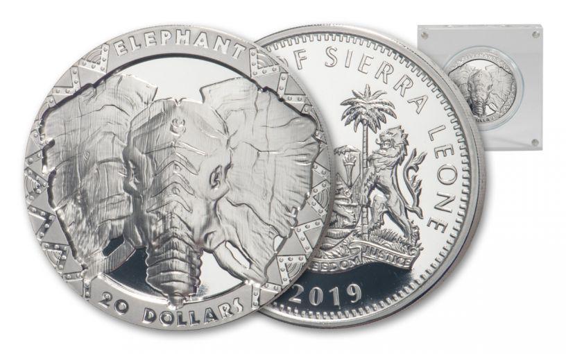 2019 Sierra Leone $20 2-oz Silver Big 5 Elephant High Relief Proof