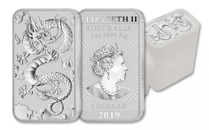 2019 Australia $1 1-oz Silver Dragon Bar BU 20-Piece Tube