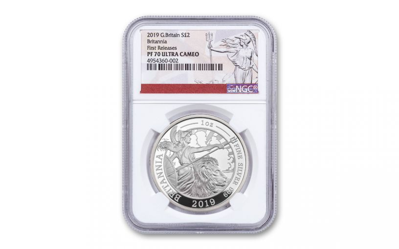 2019 Great Britain £2 1-oz Silver Britannia NGC PF70UC First Releases