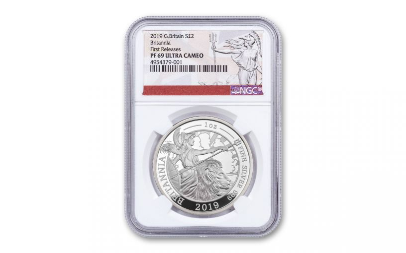 2019 Great Britain £2 1-oz Silver Britannia NGC PF69UC First Releases