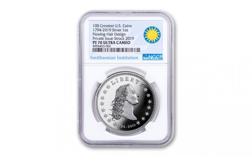 1794-2019 America's First Silver Dollar 1-oz Silver NGC PF70UC - Smithsonian Label
