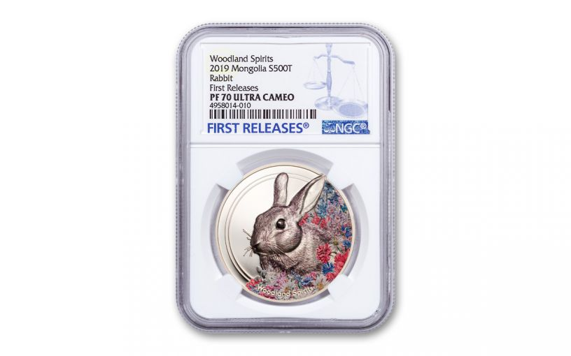 2019 Mongolia 1-oz Silver Woodland Spirits Rabbit High Relief Colorized PF70UC First Releases