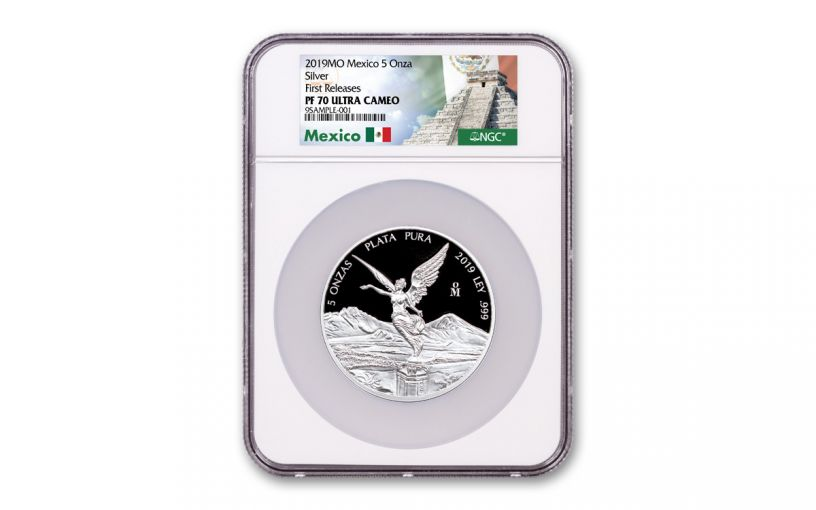 2019-MO Mexico 5-oz Silver Libertad NGC PF70UC First Releases - Mexico Label