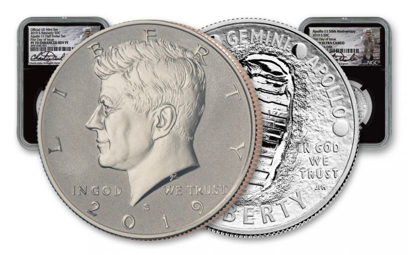 2019 50th Anniversary Apollo 11-Kennedy Half Dollar 2-pc Set NGC PF70 First Day of Issue w/Black Core & Charlie Duke Signature