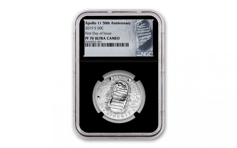 2019-S Apollo 11 50th Anniversary Clad Half Dollar NGC PF70UC First Day of Issue - Black Core, Astronaut Footprint Label