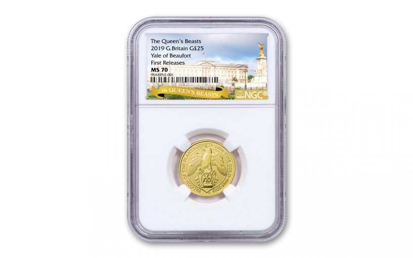 2019 Great Britain £25 1/4-oz Gold Queen's Beasts Yale of Beaufort NGC MS70 First Releases