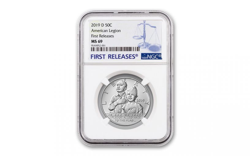 2019-D Clad Half Dollar American Legion 100th Anniversary Commemorative NGC MS69 First Releases