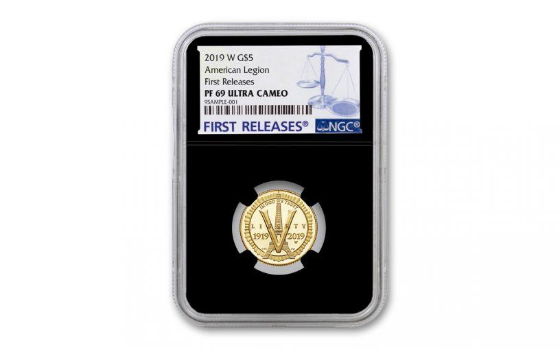 2019-W $5 Gold American Legion 100th Anniversary Commemorative NGC PF69UC First Releases - Black Core