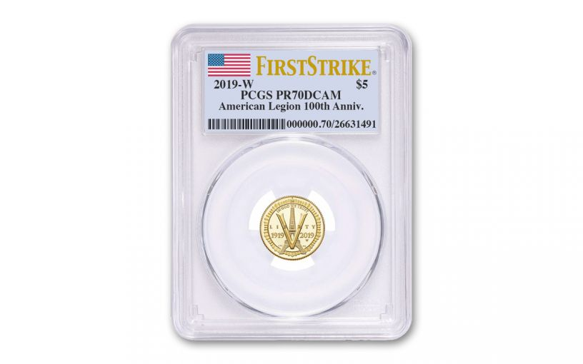 2019-W $5 Gold American Legion 100th Anniversary Commemorative PCGS PR70DCAM First Strike - Flag Label