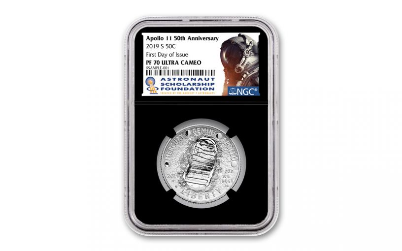 2019-S Apollo 11 50th Anniversary Clad Half Dollar NGC PF70UC First Day of Issue - Black, Core, Astronaut Scholarship Foundation Label