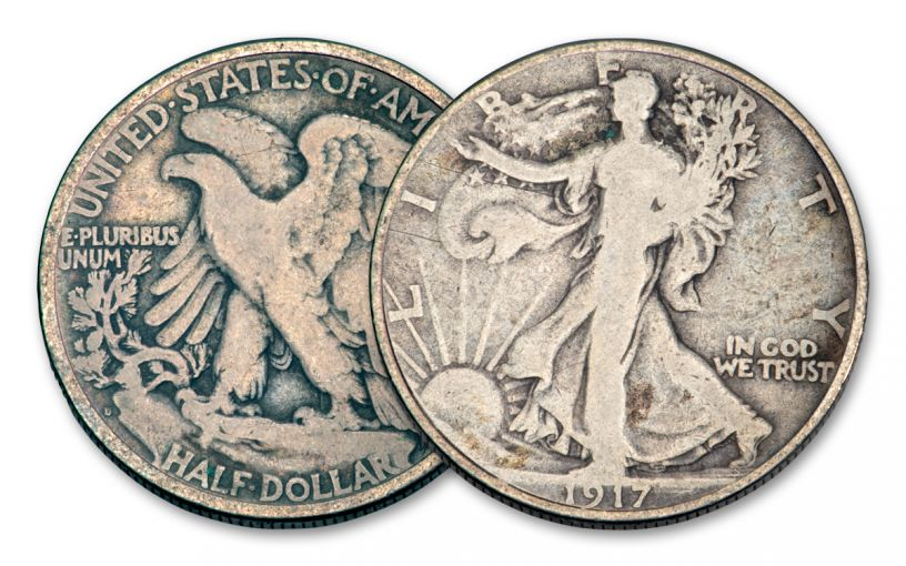 1917-D 50 Cents Silver Walking Liberty VG