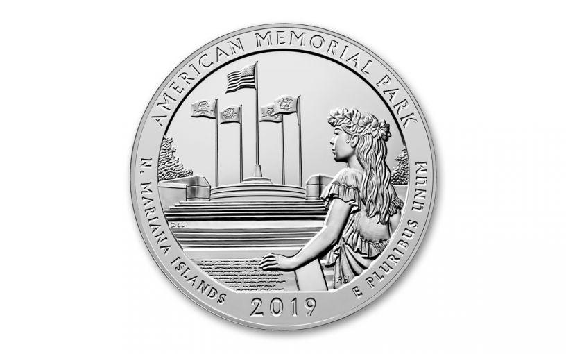 2019 America the Beautiful 5-oz Silver Quarter American Memorial Park BU