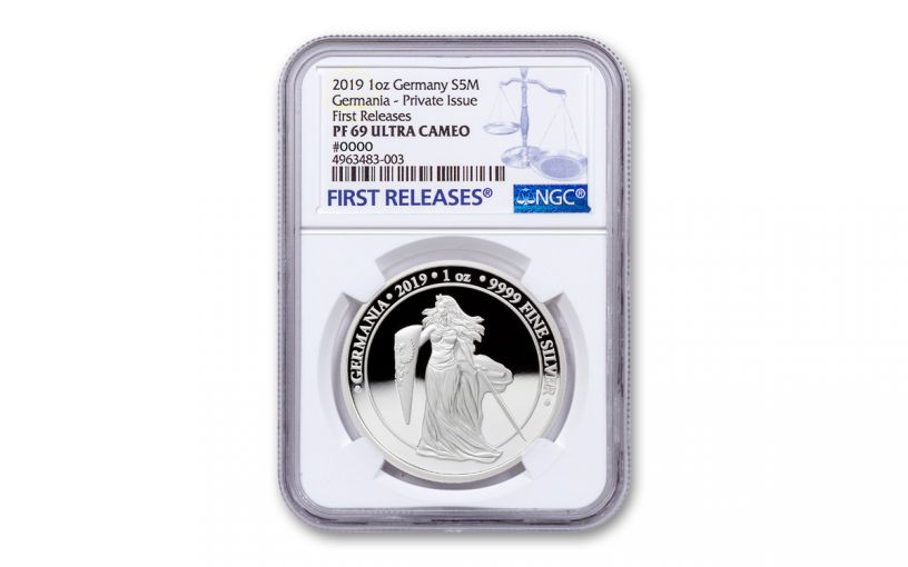 2019 Germany 1-oz Silver Germania NGC PF69UC First Releases