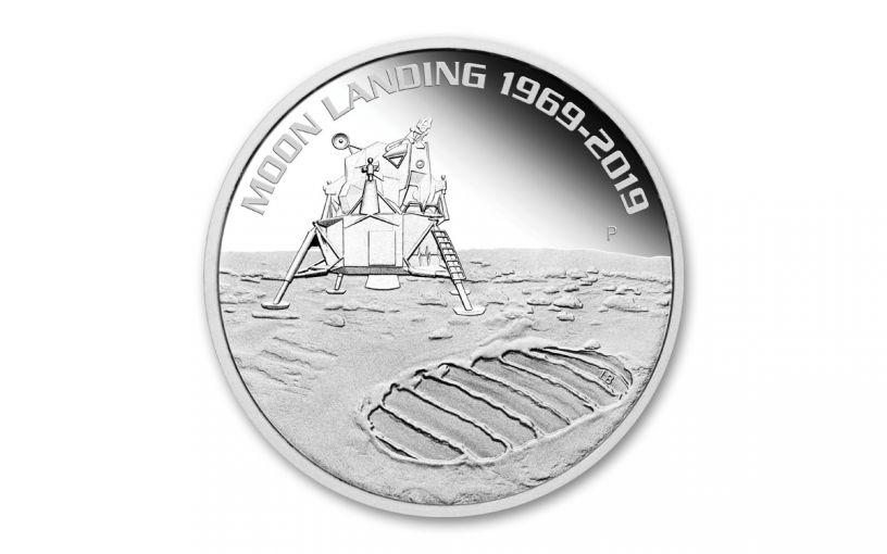 2019 Australia $1 1-oz Silver Moon Landing Apollo 11 50th Anniversary Proof