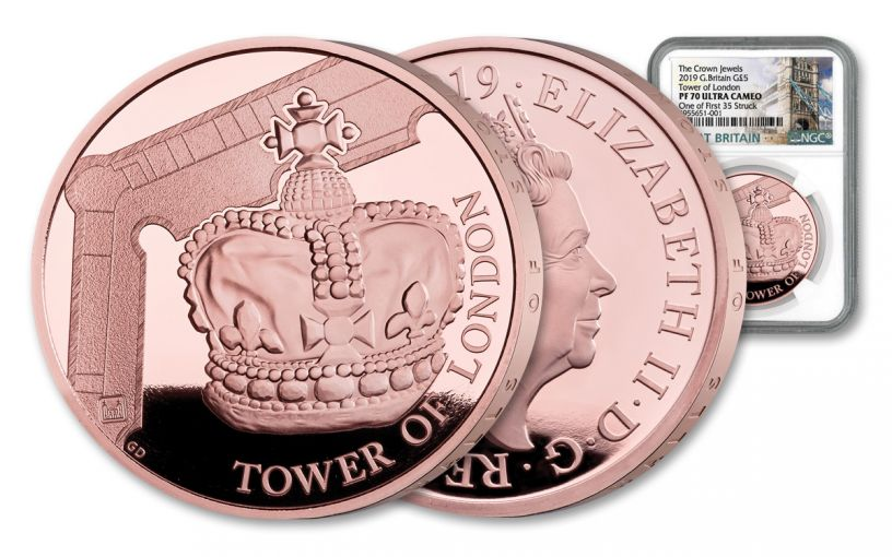 2019 Great Britain £5 Gold Tower of London Crown Jewels NGC PF70UC One of First 35 Struck