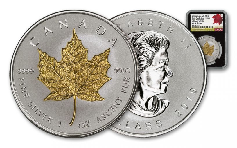 2019 Canada $20 1-oz Silver Maple Leaf Incuse Gilt Reverse Proof NGC PF70UC First Day of Issue - 40th Anniversary GML Label