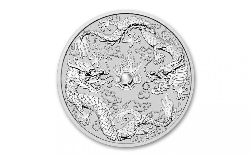 2019 Australia $1 1-oz Silver Double Dragon BU