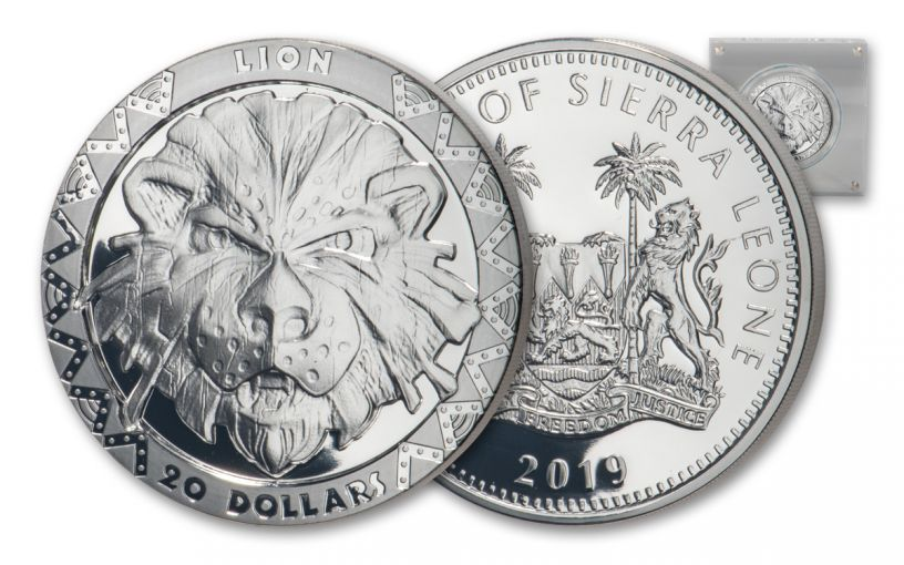 2019 Sierra Leone $20 2-oz Silver Big 5 Lion High Relief Proof