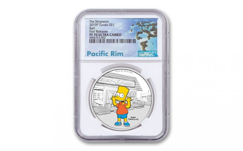 2019 Tuvalu $1 1-oz Silver Bart Simpson™ NGC PF70UC First Releases - Pacific Rim Label