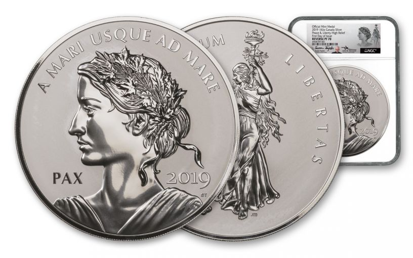 2019 Canada 1 Kilo Silver Peace & Liberty Reverse Proof Medal NGC PF70UC First Day of Issue - Mercanti & Taylor Dual Signature Labels