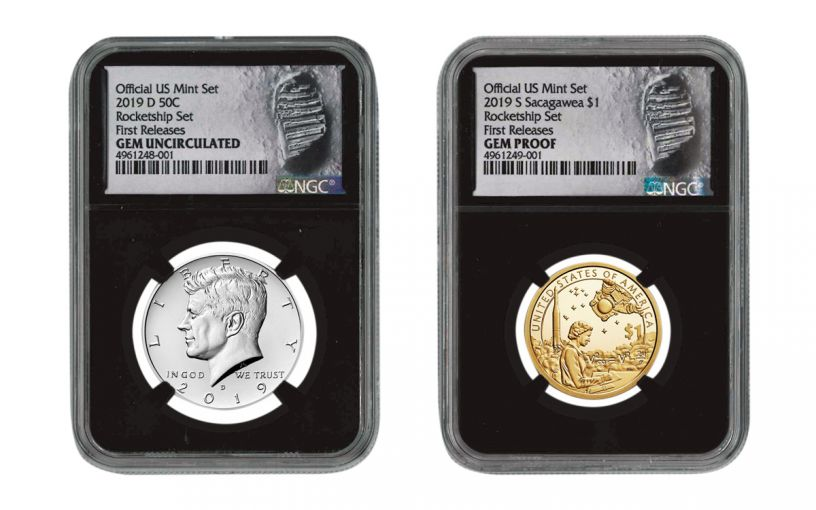 2019 U.S. Mint Rocketship™ 2-pc Set NGC Gem Unc & Gem Proof w/Black Core & Moonprint Label