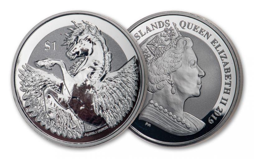 2019 British Virgin Islands $1 1-oz Silver Pegasus Reverse Proof
