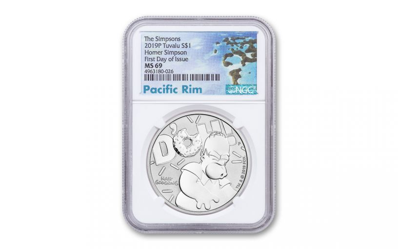 2019 Tuvalu $1 1-oz Silver Homer Simpson NGC MS69 First Day of Issue - Pacific Rim Label