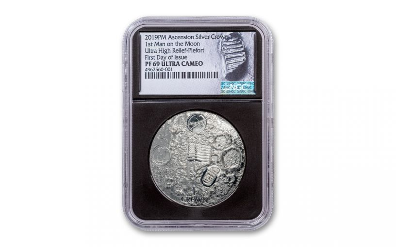 2019 Ascension Island 1 Crown 2-oz Silver First Man on the Moon Ultra High Relief Domed Proof NGC PF69UC First Day of Issue - Black Core, Astronaut Footprint Label