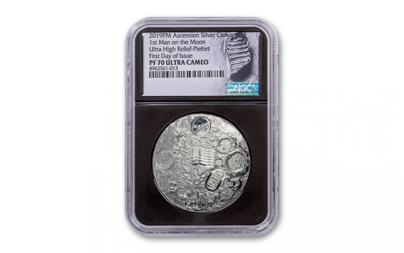 2019 Ascension Island 1 Crown 2-oz Silver First Man on the Moon Ultra High Relief Domed Proof NGC PF70UC First Day of Issue - Black Core, Astronaut Footprint Label