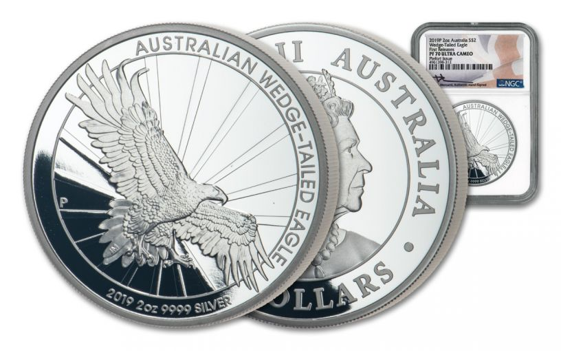 2019 Australia $2 2-oz Silver Wedge Tailed Eagle Piedfort NGC PF70UC First Releases - Mercanti Signed Label
