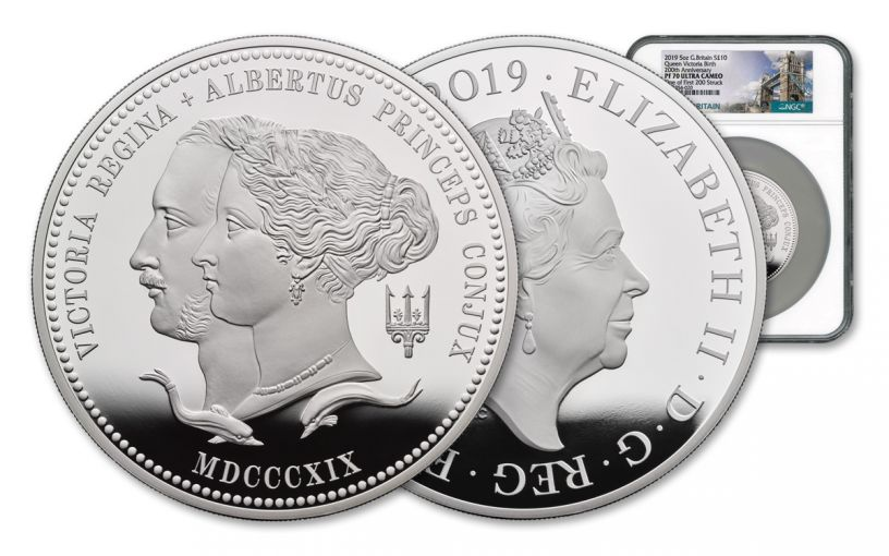 2019 Great Britain £10 5-oz Silver Queen Victoria 200th Anniversary NGC PF70UC One of First 200 Struck - Tower Bridge Label