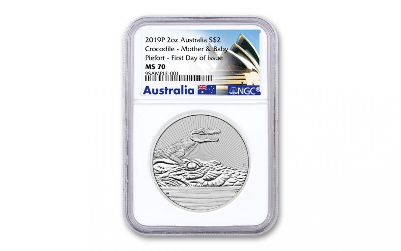 2019 Australia $2 2-oz Silver Mother & Baby Crocodile Piedfort NGC MS70 First Day of Issue - Opera House Label