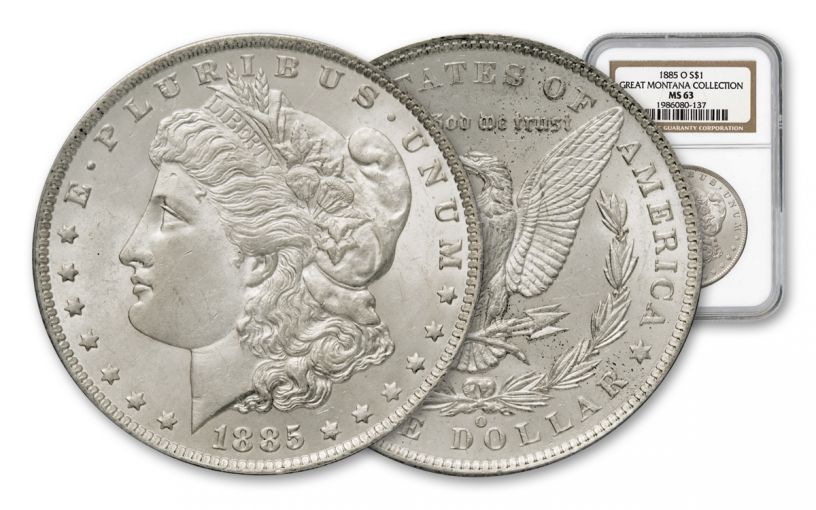 1885-O $1 Morgan Silver Dollar Great Montana Collection NGC MS63 w/Mammoth Gold Mining Stock Certificate