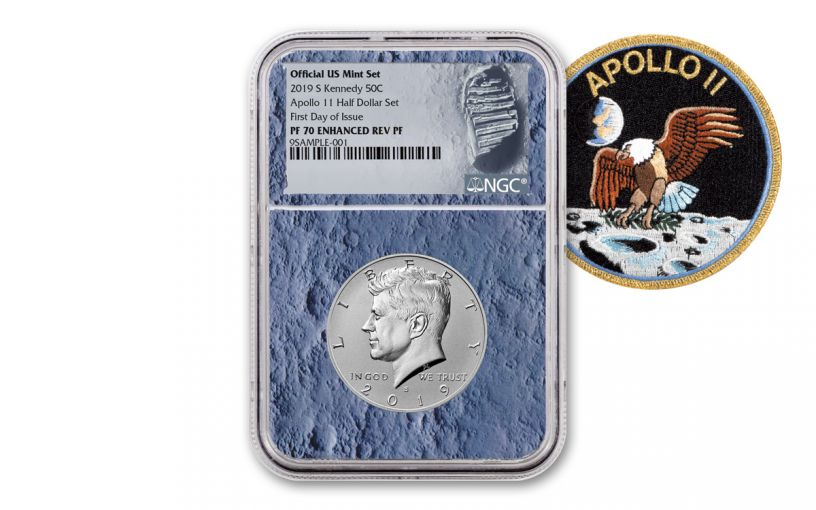 2019-S Kennedy Half Dollar Enhanced Reverse Proof NGC PF70 First Day of Issue w/Moon Core and Moon Label
