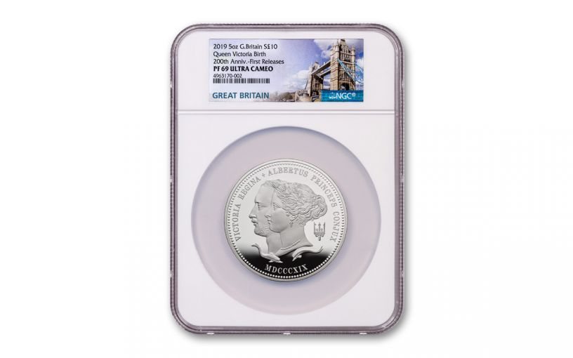 2019 Great Britain £10 5-oz Silver Queen Victoria 200th Anniversary Proof NGC PF69UC First Releases