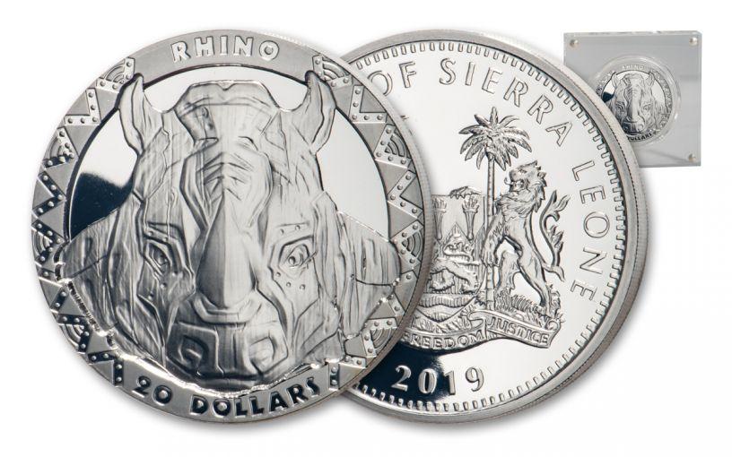 2019 $20 2-oz Silver Sierra Leone Big 5 Rhino High Relief Proof