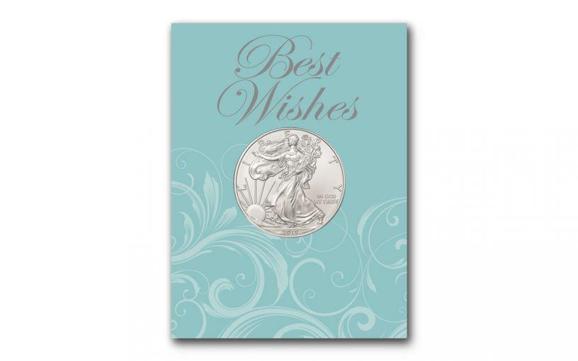 2019 1 Dollar 1-oz American Silver Eagle BU Best Wishes Card