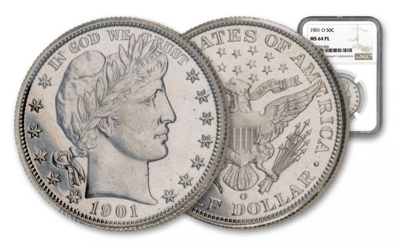 1901-O Barber Silver Half Dollar NGC MS64 PL