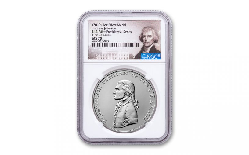 2019 1-oz Silver Thomas Jefferson Presidential Medal NGC MS70 First Releases - Jefferson Label
