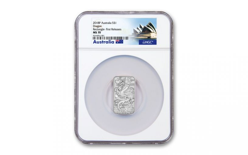 2018 Australia $1 1-oz Silver Dragon Bar NGC MS70 First Releases