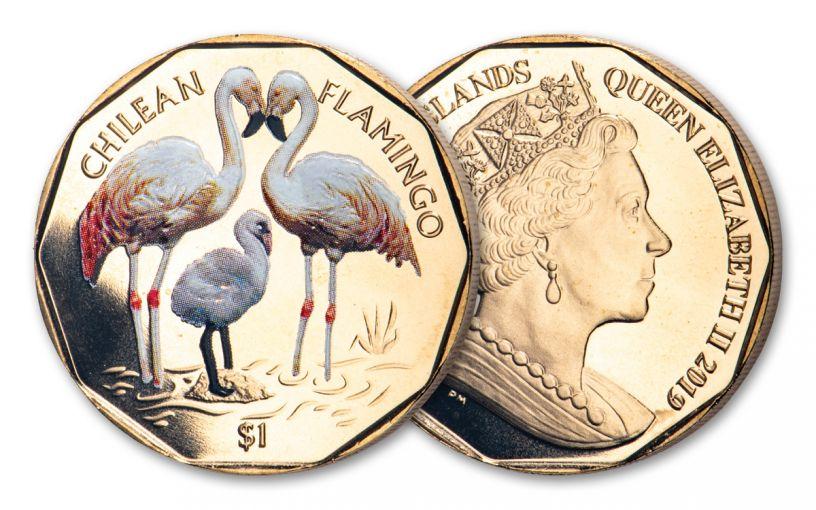 2019 British Virgin Islands $1 8-gm Virenium® Chilean Flamingo Proof