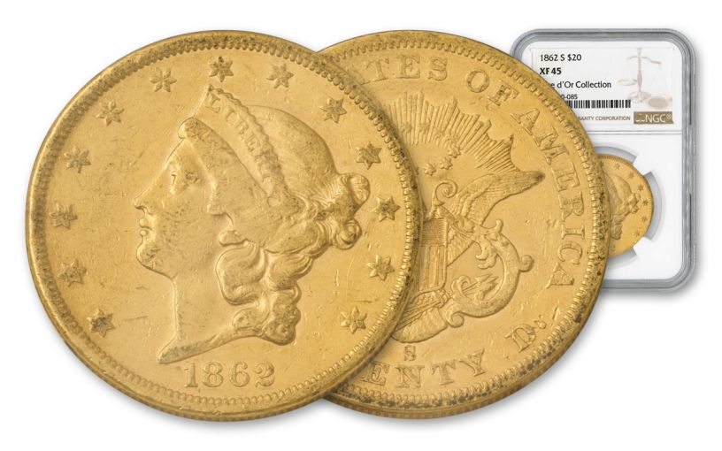 1862-S $20 Gold Liberty NGC XF45 Rive d'Or Hoard