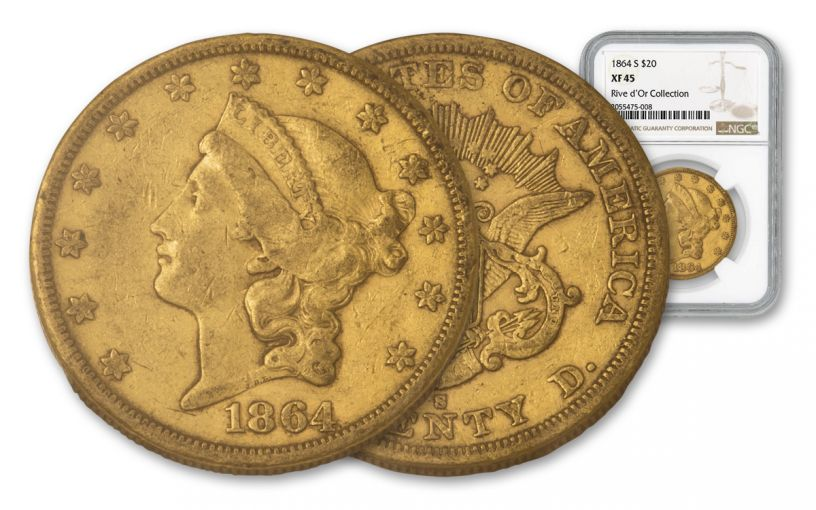 1864-S $20 Gold Liberty NGC XF45 Rive d'Or Hoard