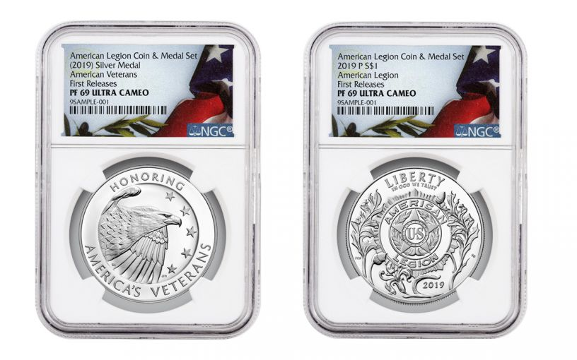 2019-P American Legion 100th Anniversary Silver Dollar Proof & Medal 2-Piece Set NGC PF69 First Releases
